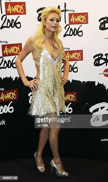 Paris Hilton poses in the Awards Room at The Brit Awards 2006 with MasterCard at Earls Court 1 on February 15 2006 in London England The 26th annual...