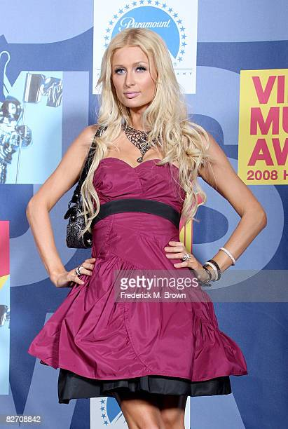 Paris Hilton poses in the press room at the 2008 MTV Video Music Awards at Paramount Pictures Studios on September 7 2008 in Los Angeles California