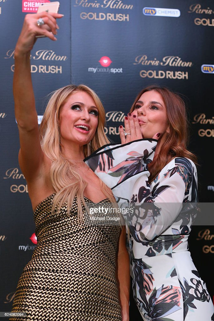 Paris Hilton poses with host Lauren Phillips during a Q&A with fans at Westfield Doncaster on November 18, 2016 in Melbourne, Australia.