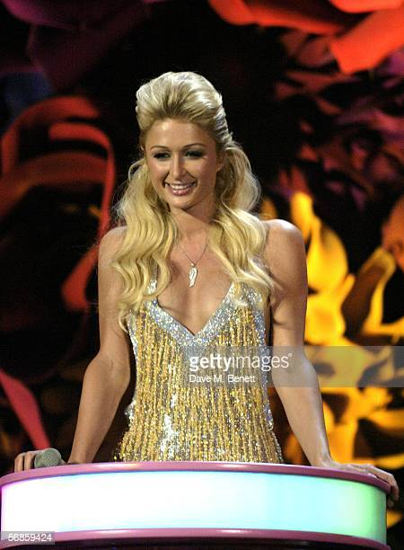 Paris Hilton presents the award for International Album to Green Day for American Idiot on stage at The Brit Awards 2006 with MasterCard at Earls...