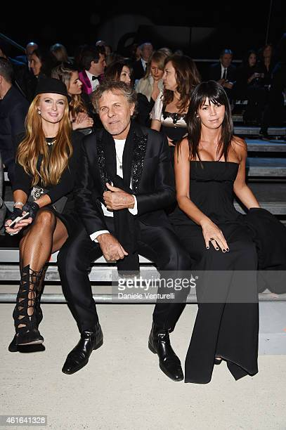 Paris Hilton; Renzo Rosso and Arianna Alessi attend the Dsquared2 during the Milan Menswear Fashion Week Fall Winter 2015/2016 on January 16, 2015 in...
