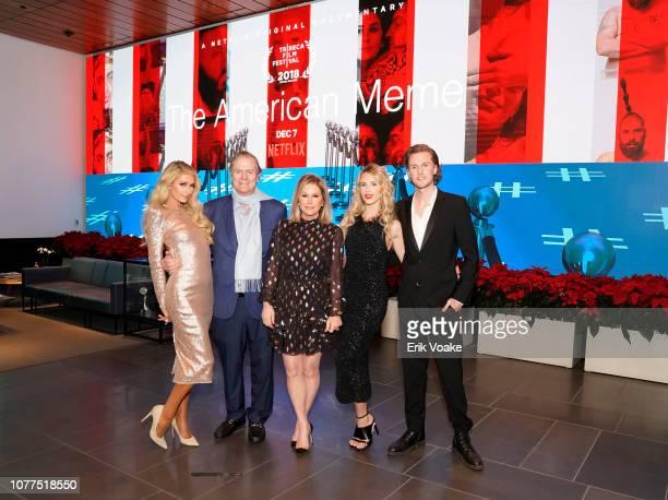 Paris Hilton Richard Hilton Kathy Hilton Tessa Hilton and Barron Hilton attend The American Meme special screening on December 04 2018 in Los Angeles...