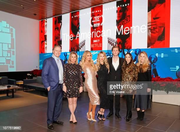 Paris Hilton Richard Hilton Kathy Hilton Tessa Hilton Barron Hilton Farrah Aldjufrie and Whitney Davis attend The American Meme special screening on...