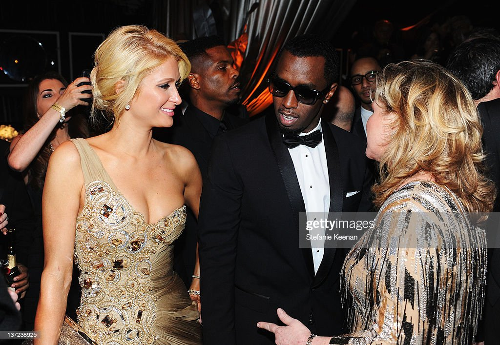 Paris Hilton, Sean 'Diidy' Combs and Kathy Hilton attend The Weinstein Company Celebration of the 2012 Golden Globes presented by Chopard held at The Beverly Hilton hotel on January 15, 2012 in Beverly Hills, California.