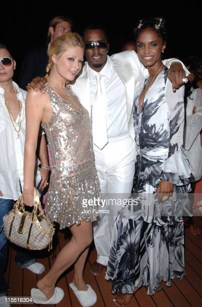 Paris Hilton Sean 'P Diddy' Combs and Kim Porter during 'Unforgivable' Fragrance Celebration Dinner St Tropez France in St Tropez France