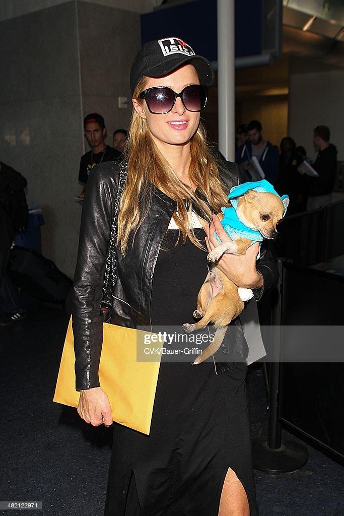 Paris Hilton seen at Los Angeles International airport on April 02, 2014 in Los Angeles, California.