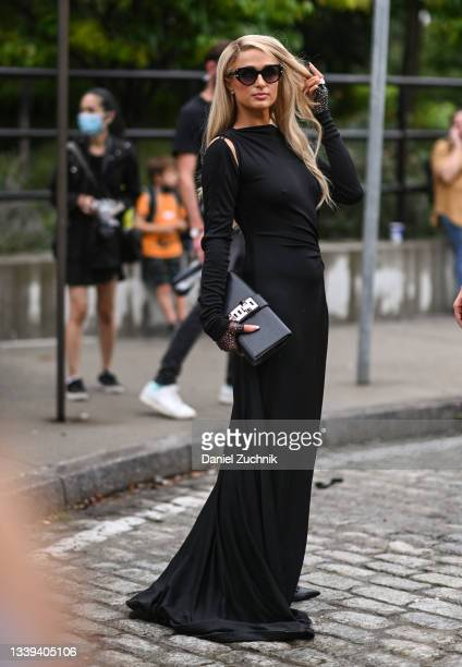 Paris Hilton seen wearing a Monse dresses outside the Monse show during New York Fashion Week S/S 22 on September 09, 2021 in New York City.