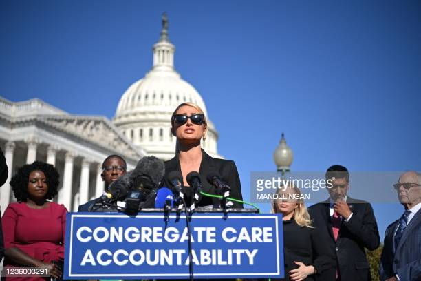 Paris Hilton speaks as she joins congressional lawmakers during a press conference on upcoming legislation to establish a bill of rights to protect...
