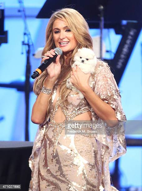 Paris Hilton speaks onstage during the 22nd Annual Race To Erase MS Event at the Hyatt Regency Century Plaza on April 24, 2015 in Century City,...