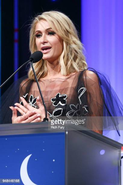 Paris Hilton speaks onstage during the CASA Of Los Angeles' 2018 Evening To Foster Dreams Galaat The Beverly Hilton Hotel on April 18 2018 in Beverly...