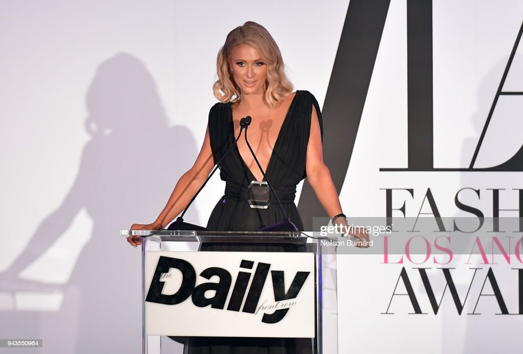 Paris Hilton speaks onstage during The Daily Front Row's 4th Annual Fashion Los Angeles Awards at Beverly Hills Hotel on April 8, 2018 in Beverly Hills, California.