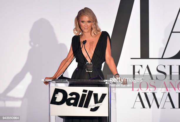 Paris Hilton speaks onstage during The Daily Front Row's 4th Annual Fashion Los Angeles Awards at Beverly Hills Hotel on April 8 2018 in Beverly...