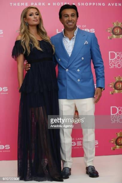 Paris Hilton takes part in a press conference with Dosso Dossi Fashion Show CEO Hikmet Eraslan at The Land of Legends Theme Park after arriving to...