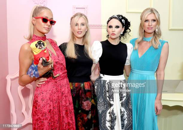 Paris Hilton, Tessa Hilton, Stacey Bendet, and Nicky Hilton attend the alice + olivia by Stacey Bendet Spring 2020 Fashion Presentation at Root...