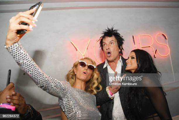 Paris Hilton Tommy Lee and Brittany Furlan attend the 2018 Tribeca Film Festival World Premiere of Bert Marcus' THE AMERICAN MEME on April 27 2018 at...