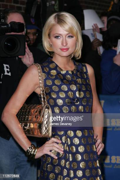 Paris Hilton visits 'Late Show with David Letterman' on January 29 at the Ed Sullivan Theatre in New York City