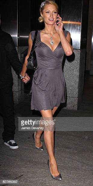 Paris Hilton visits Nobu 57 on August 12, 2008 in New York City.