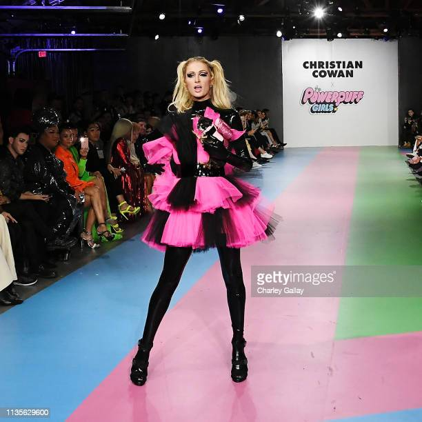 Paris Hilton walks runway at Christian Cowan x The Powerpuff Girls Runway Show at City Market Social House on March 08 2019 in Los Angeles California
