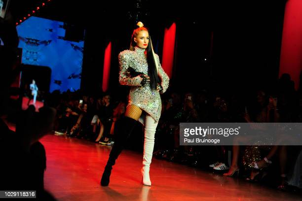 Paris Hilton walks the runway at Disney Villains x The Blonds NYFW Show during New York Fashion Week The Shows at Gallery I at Spring Studios on...
