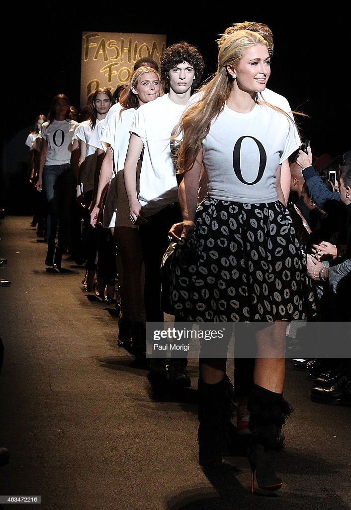 Paris Hilton walks the runway at Naomi Campbell's Fashion For Relief Charity Fashion Show during Mercedes-Benz Fashion Week Fall 2015 at The Theatre at Lincoln Center on February 14, 2015 in New York City.