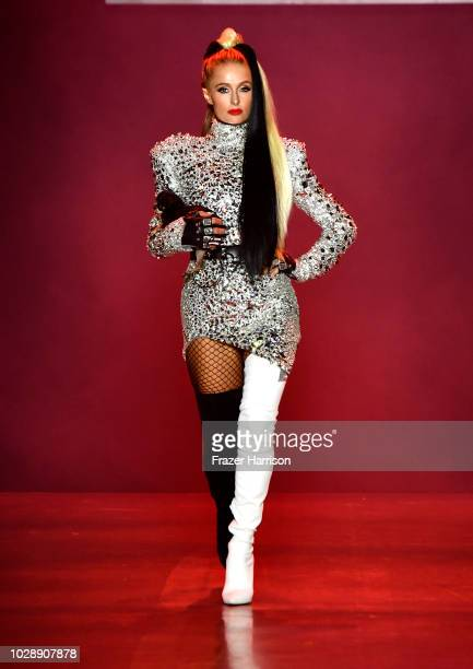 Paris Hilton walks the runway at the Disney Villains x The Blonds NYFW Show during New York Fashion Week The Shows at Gallery I at Spring Studios on...