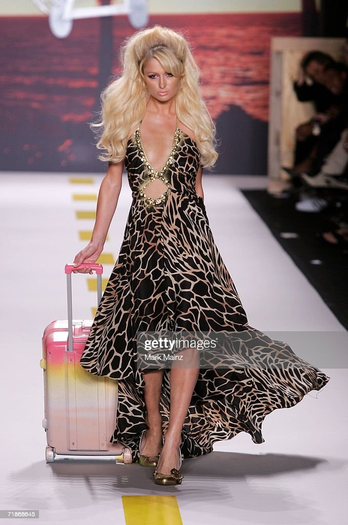 Paris Hilton walks the runway at the Heatherette Spring 2007 fashion show during Olympus Fashion Week at the Tent in Bryant Park September 12, 2006 in New York City.