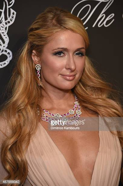 Paris Hilton wearing Avakian attends Angel Ball 2014 hosted by Gabrielle's Angel Foundation at Cipriani Wall Street on October 20 2014 in New York...