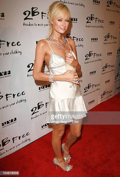 Paris Hilton with Cinderella during 2BFree's Spring 2006 Collection Arrivals at Paramount Studios in Los Angeles California United States