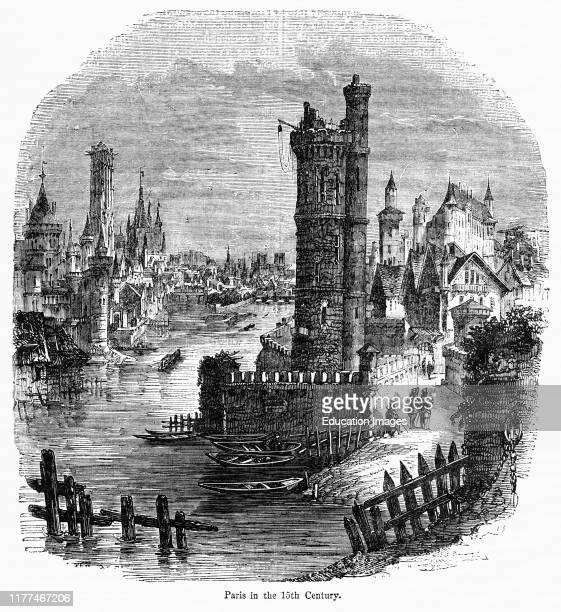 Paris in the 15th Century Illustration from John Cassell's Illustrated History of England Vol I from the earliest period to the reign of Edward the...