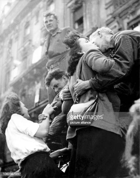 Paris inhabitants greet the American troops after the liberation of the city German commander Dietrich von Choltitz had given the order to retreat or...