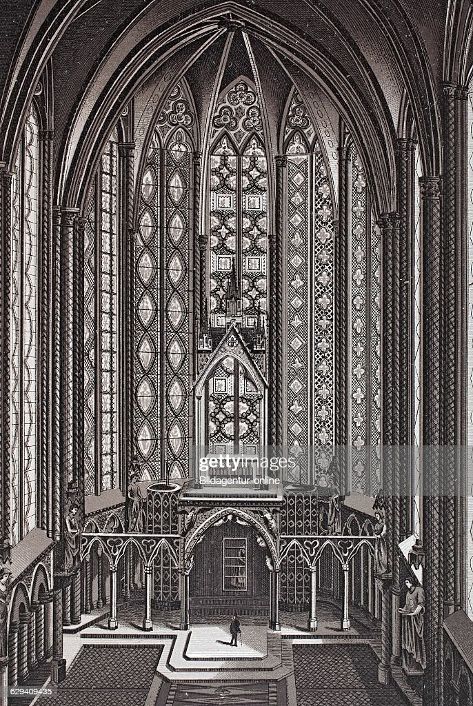 Paris Interior Of La Sainte Chapelle France Historic Copper Plate Etching From