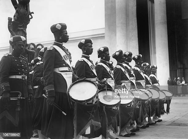 Paris International Exhibition In July 1937 The Black Guard Of The Moroccan Sultan In Front Of The Modern Arts Palace