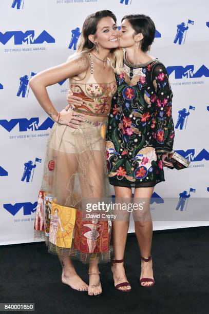 Paris Jackson and Caroline D'Amore pose in the press room during the 2017 MTV Video Music Awards at The Forum on August 27 2017 in Inglewood...