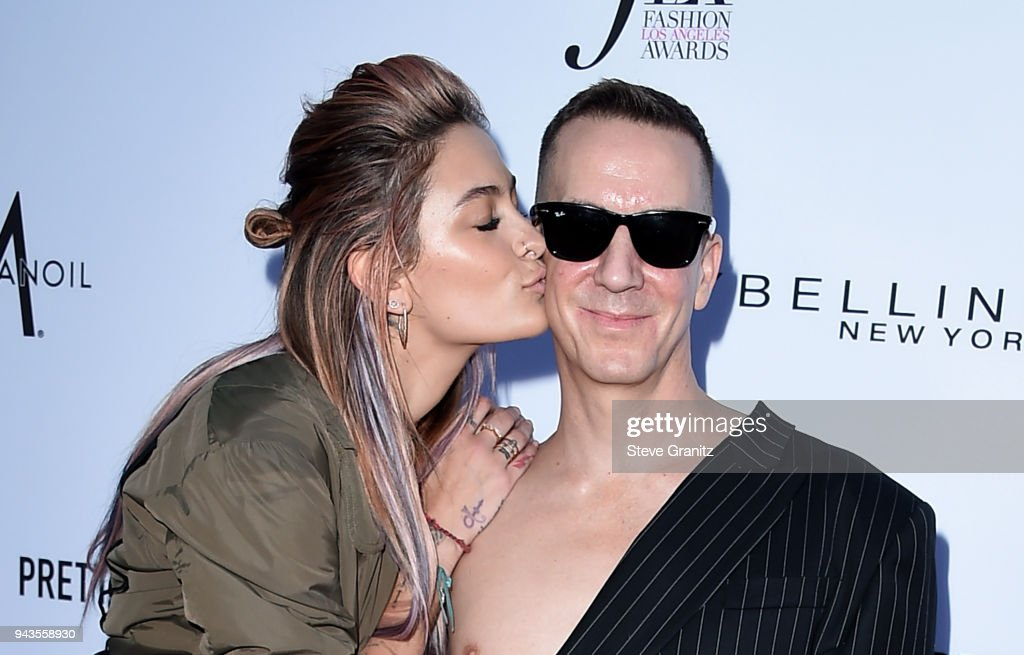 Paris Jackson (L) and honroee Jeremy Scott attend The Daily Front Row's 4th Annual Fashion Los Angeles Awards at Beverly Hills Hotel on April 8, 2018 in Beverly Hills, California.