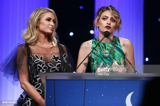 Paris Jackson and Paris Hilton speak onstage during the CASA Of Los Angeles' 2018 Evening To Foster Dreams Galaat The Beverly Hilton Hotel on April...