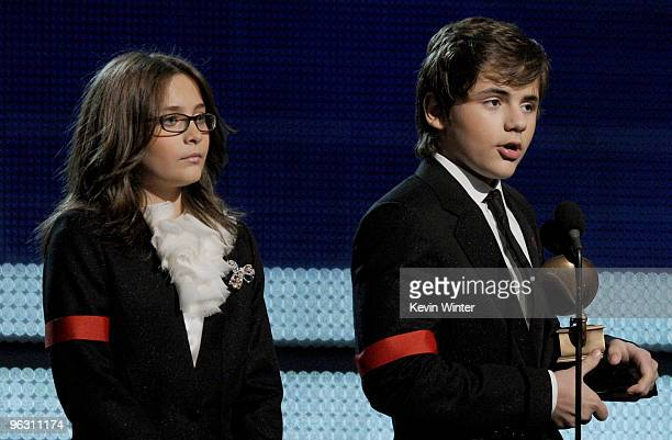 Paris Jackson and Prince Michael Jackson accept the Lifetime Achievemen award for Michael Jackson onstage during the 52nd Annual GRAMMY Awards held...