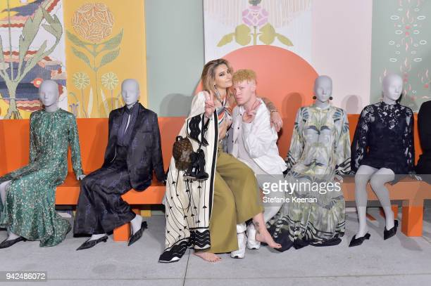Paris Jackson and Shaun Ross attend the HM celebration of 2018 Conscious Exclusive collection at John Lautner's Harvey House on April 5 2018 in Los...