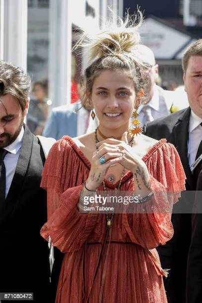 Paris Jackson around the Birdcage on Melbourne Cup Day at Flemington Racecourse on November 7 2017 in Melbourne Australia
