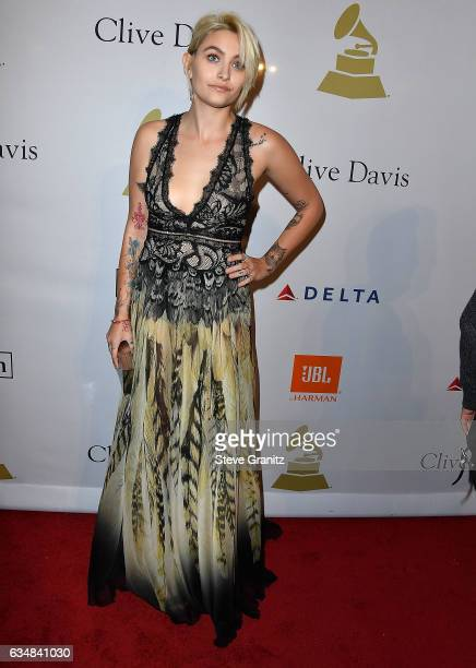 Paris Jackson arrives at the PreGRAMMY Gala and Salute to Industry Icons Honoring Debra Lee on February 11 2017 in Los Angeles California