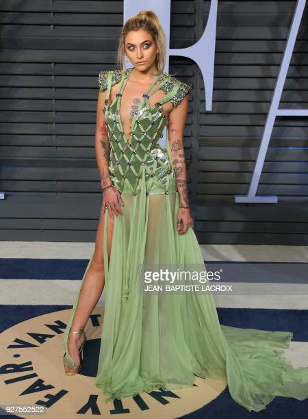 Paris Jackson attends the 2018 Vanity Fair Oscar Party following the 90th Academy Awards at The Wallis Annenberg Center for the Performing Arts in...
