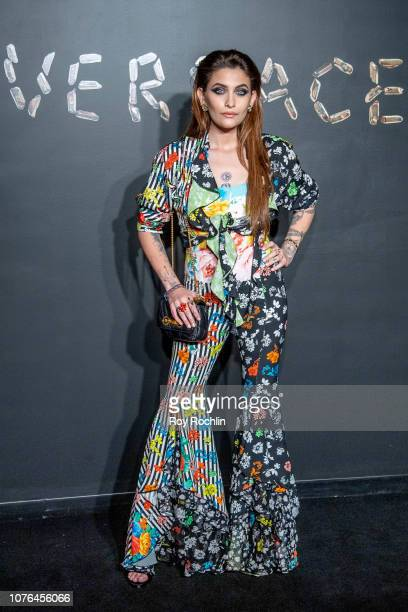 Paris Jackson attends the the Versace fall 2019 fashion show at the American Stock Exchange Building in lower Manhattan on December 02 2018 in New...