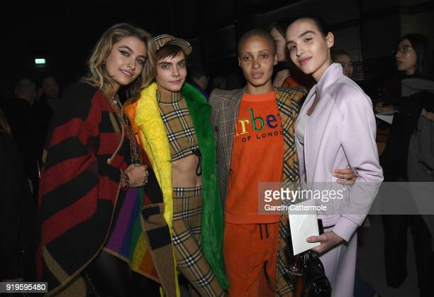 Paris Jackson Cara Delevingne Adwoa Aboah and Maxim Magnus wearing Burberry at the Burberry February 2018 show during London Fashion Week at Dimco...