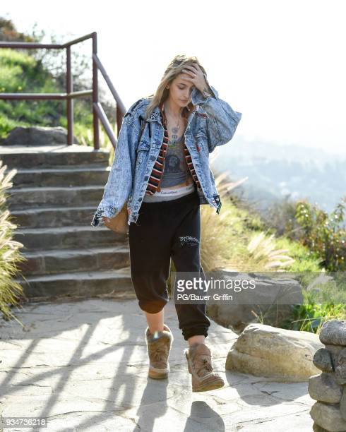 Paris Jackson is seen leaving the Mulholland Drive overlook above the Hollywood Bowl on March 19 2018 in Los Angeles California
