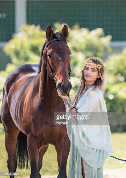 MELBOURNE VIC Paris Jackson poses with 2017 Melbourne Cup runner 'Marmelo' during a media call in Melbourne Victoria