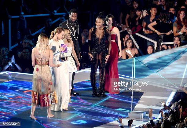 Paris Jackson presents the Best Pop video award for 'Down' to Gucci Mane and music group Fifth Harmony's Dinah Jane Ally Brooke Normani Kordei and...