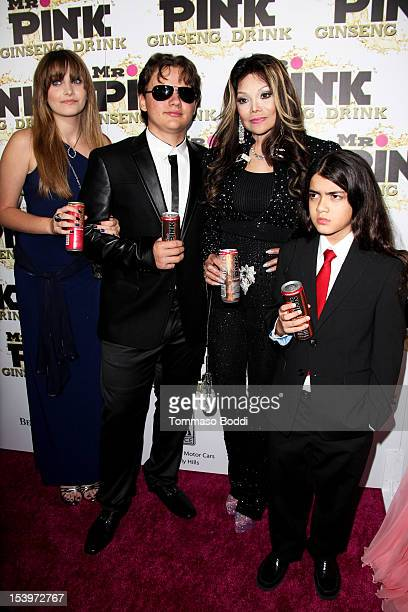 Paris Jackson Prince Jackson La Toya Jackson and Blanket Jackson attend the Mr Pink ginseng drink launch party held at the Regent Beverly Wilshire...