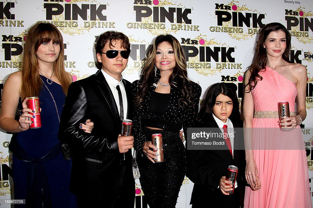 Paris Jackson, Prince Jackson, La Toya Jackson, Blanket Jackson and Monica Gabor attend the Mr. Pink ginseng drink launch party held at the Regent Beverly Wilshire Hotel on October 11, 2012 in Beverly Hills, California.