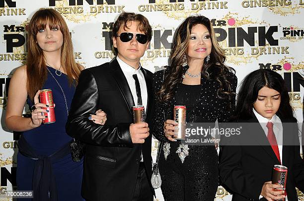 Paris Jackson, Prince Michael Jackson, La Toya Jackson and Blanket Jackson attend the Mr. Pink Ginseng Drink launch party at Regent Beverly Wilshire...