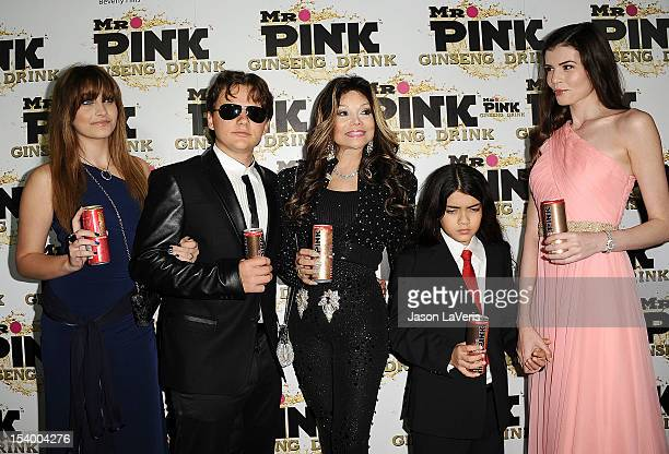 Paris Jackson Prince Michael Jackson La Toya Jackson Blanket Jackson and Monica Gabor attend the Mr Pink Ginseng Drink launch party at Regent Beverly...