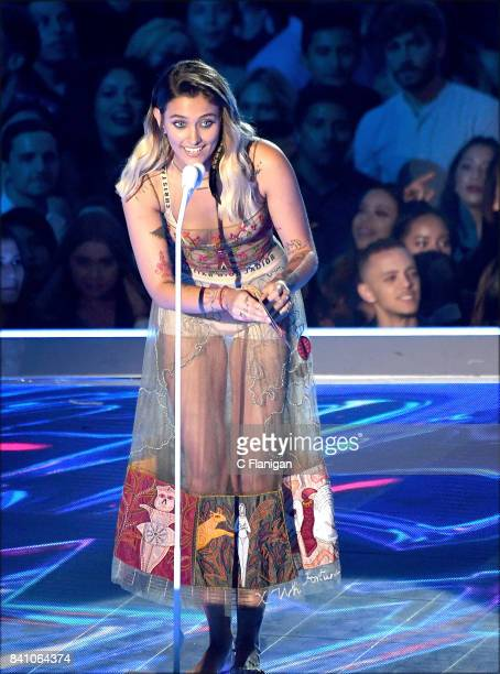 Paris Jackson speaks onstage during the 2017 MTV Video Music Awards at The Forum on August 27 2017 in Inglewood California
